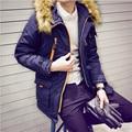 Inverno Prata Raposa dos homens Jaquetas E Casacos Moda Quente Grosso dos homens Estande Casuais Colarinho Capuz Removível Tamanho Pluse casaco A2708