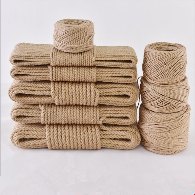 Natural hand woven hemp cable retro decorative jute twine tied rope roug 1-14mm