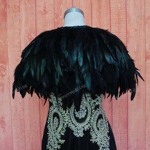 Image 5 - Ruthshen prawdziwy obraz suknia wieczorowa Cape Stole Feather okłady wzruszając ramionami Bolero płaszcz szalik