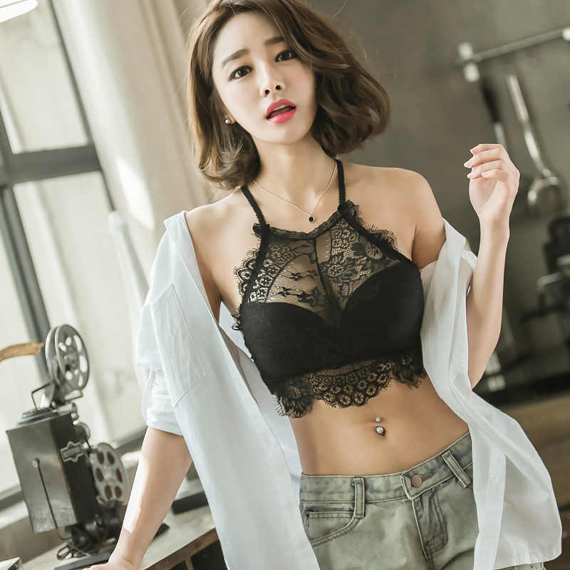 34a9cc1ee43 Brassiere Bra for Females Bandeau Tube Tops Women Sexy Underwear Prevent  Exposed Lace Wrapped Chest Black