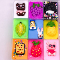 Plasticine Craft Funny Stress Relieve Decoration Cute Cartoon Non Toxic Art Fluffy Slime Kids DIY Gift Ten Grids Toys