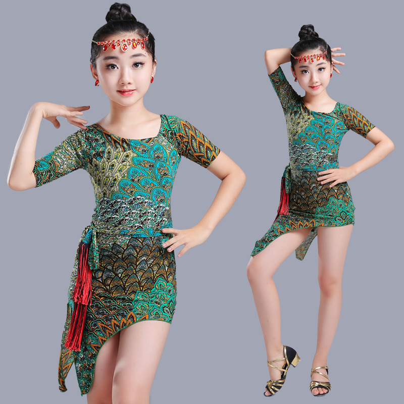 New Children Cheongsam Latin Dance Dress Performance Clothing Children's Competition Printing Latin Dance Performance Dance