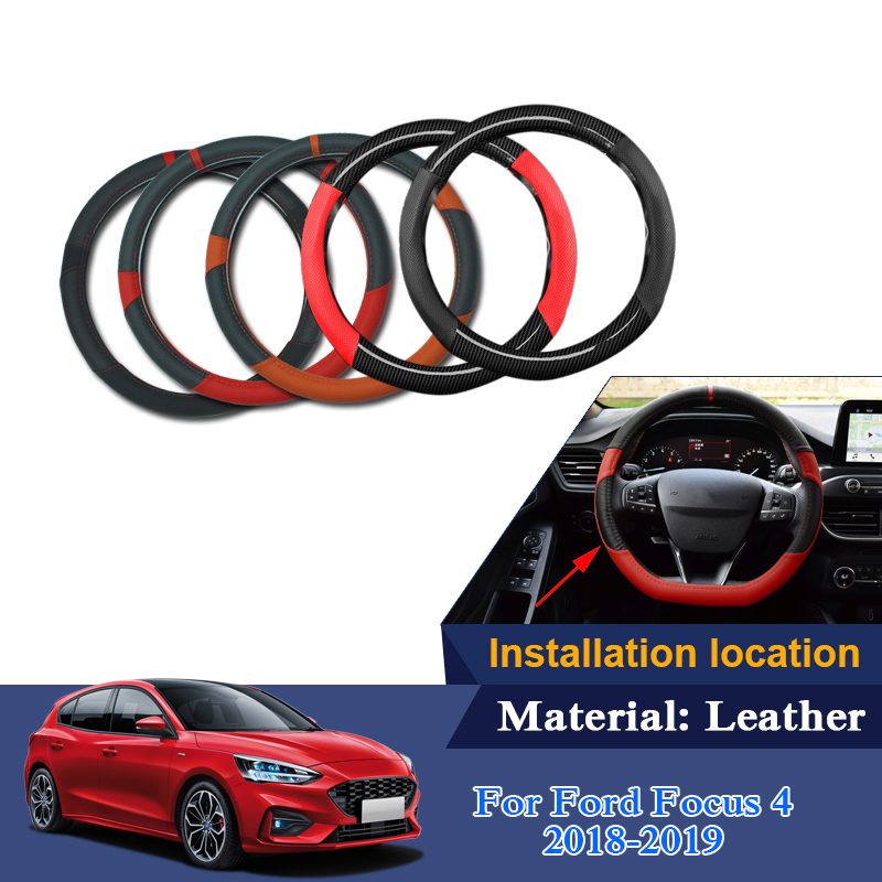 Car Steering Wheel Covers For Ford Focus 4 2018 2019 Leather 38cm Auto Steering Wheel Cover