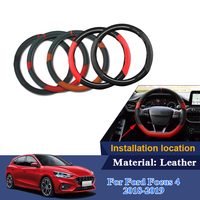 Car Steering Wheel Covers For Ford Focus 4 2018 2019 Leather 38cm Auto Steering Wheel Cover Anti Slip Steering Wheel Hubs Cover