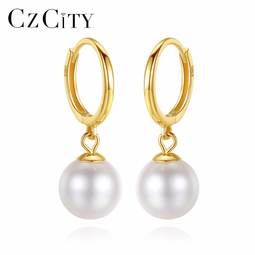 CZCITY 18K Yellow Gold Natural Round Pearl Hoop Earrings 6.5-7mm Freshwater Pearl High Quality 18K Yellow Gold Jewelry браслет на ногу other 18k