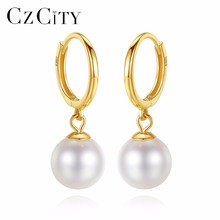 CZCITY Brand Charms 18K Gold Natural Round Pearl Earrings 6.5-7mm Ear Drop Earrings High Quality 18K Yellow Gold Jewelry