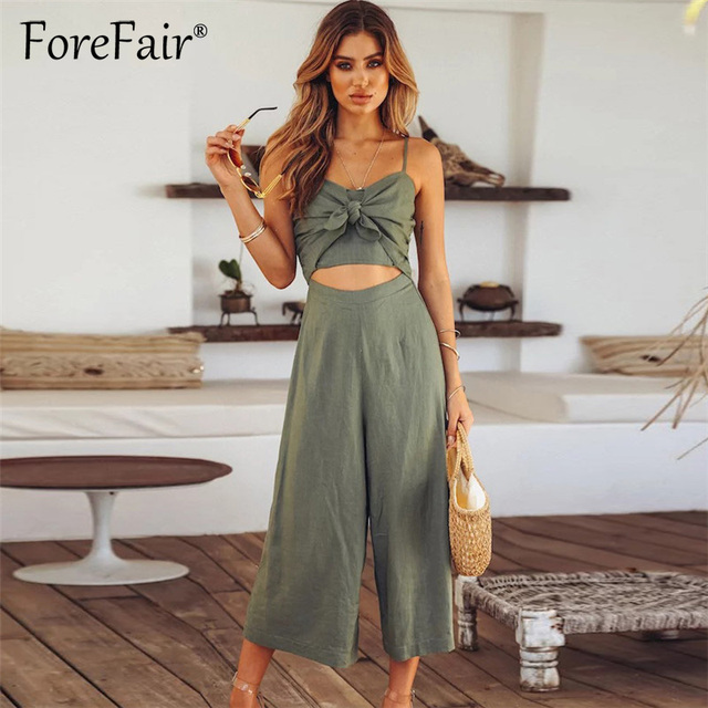 e23749eefb2a Forefair Wide Leg Jumpsuit Womens Rompers Front Bow Tie Backless Spaghetti  Strap Jumpsuits For Women 2018 Overalls