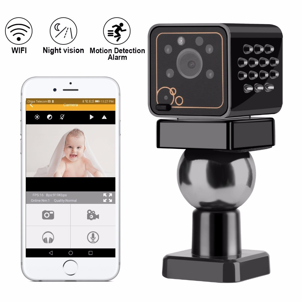New Wifi Mini IP Security Camera HD 1080P Wireless Nanny Cameras for Home Remote View for iPhone Android Motion Detection ...