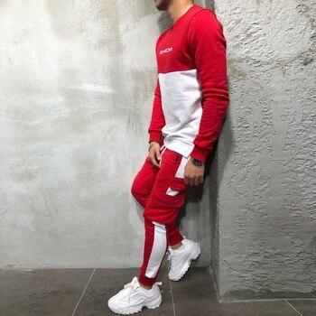 2018 New Men's Autumn Hoodies Tracksuit Set Male Sweatshirt Sweatpants Multi-pocket Fashion Trousers High Street Jackets Sets 1