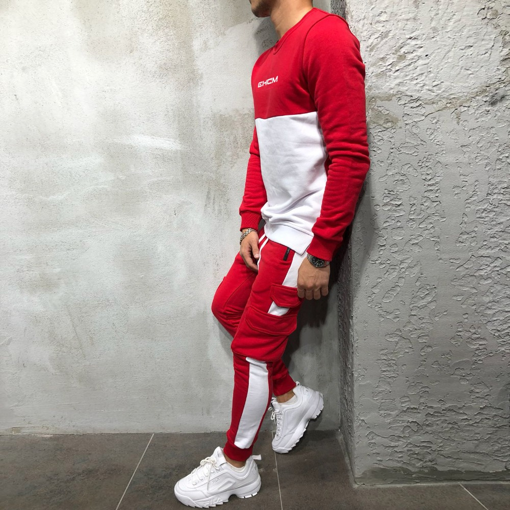 2018 New Men's Autumn Hoodies Tracksuit Set Male Sweatshirt Sweatpants Multi-pocket Fashion Trousers High Street Jackets Sets