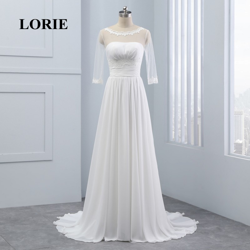 LORIE Φορέματα νυφικά με μανίκια Scoop A-line - Γαμήλια φορέματα - Φωτογραφία 3