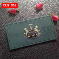 factory private customzied PU leather embossed labels sewing on ladies clothes printing handmade alloy leather signs for garment