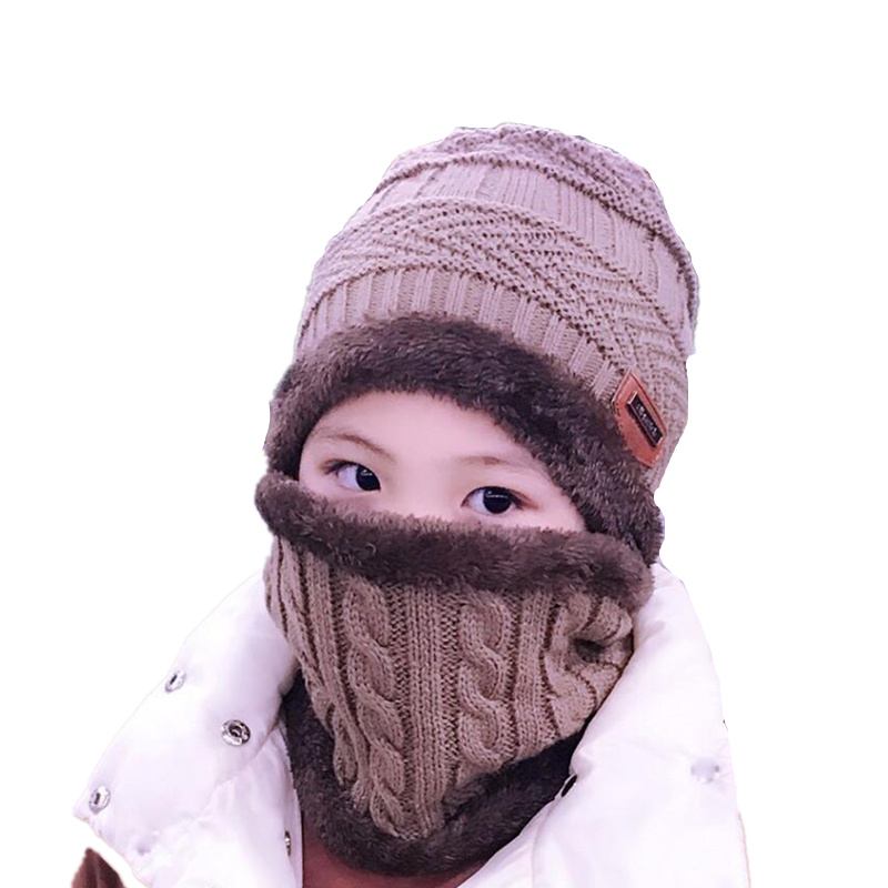 Kids Winter Warm Knitted Hat Children Cap   Skullies     Beanies   Circle Scarf withThicken Fleece Lining for Boys Girls with women men