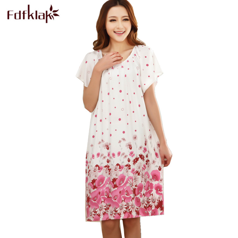 Fdfklak Loose   nightgowns   for women long print girls nightwear nightdress cotton and silk   sleepshirt   summer dress night shirt