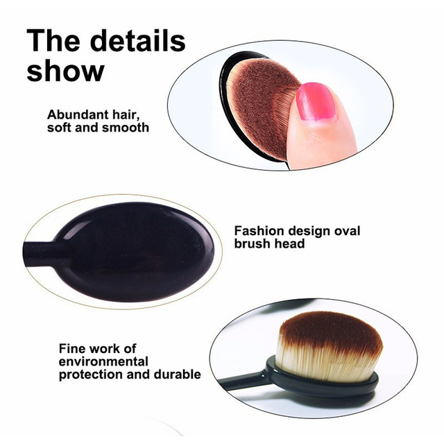 Pro Oval Foundation Powder Makeup Brushes Toothbrush Toiletry Women Beauty Cream Puff Cosmetic Multifunctional Makeup Brush