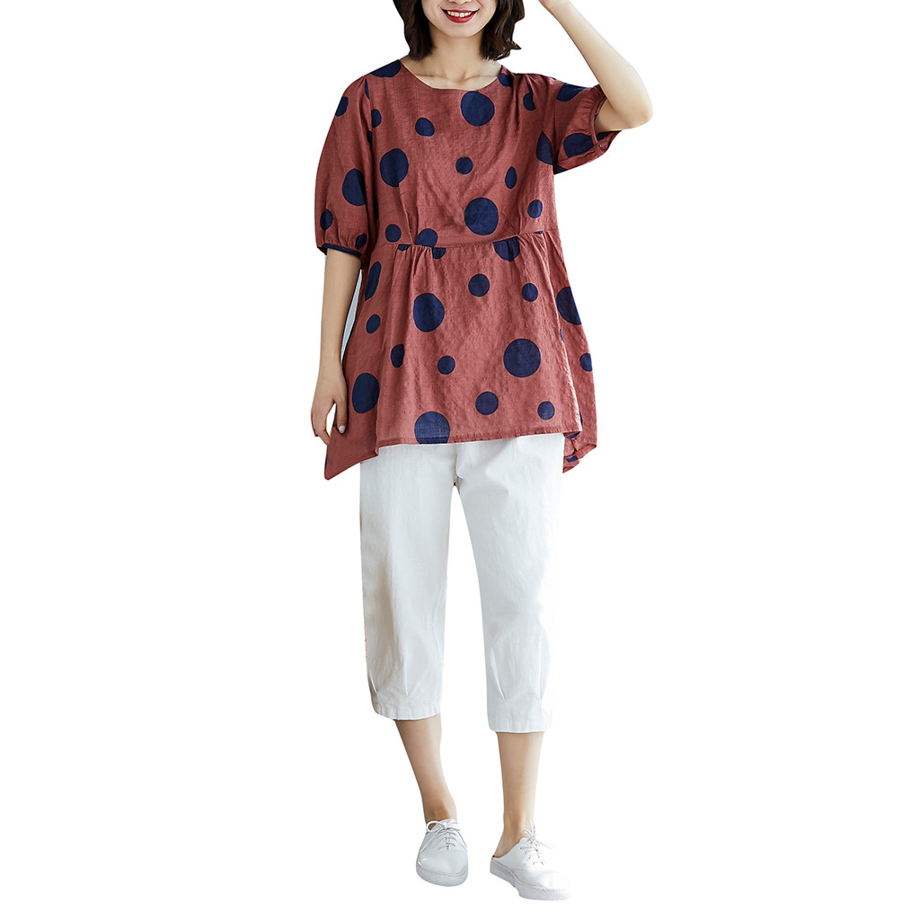 T-shirts for women Women Tshirt Summer  Tshirt Summer Fashion Print Dot T Shirt O-Neck Printed Shirts magliette donna