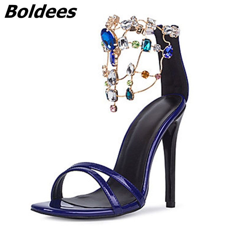 Trendy Designer Sexy Patent Leather Stiletto Heels Shoes Woman Bling Bling Rhinestone Ankle Wraped Dress Sandals Nightclub Shoe