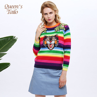 Queen S Tailo Fashion Woman Rainbow Stripes Sweater Animial Tiger Embroidery Wool Kbnitted Pullovers Female Chandail