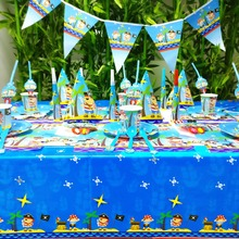 цена 84pcs/set Baby Pirate Kids Birthday Party Decoration Party Supplies Baby Shower Wedding Pack Event Supplies Cups Plates Forks