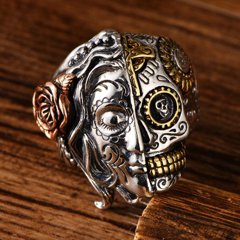 Real 100% 925 Sterling Silver Double Face Skull Ring With Rose Flower Carving Vintage Punk Thai Silver Personality Jewelry GiftsReal 100% 925 Sterling Silver Double Face Skull Ring With Rose Flower Carving Vintage Punk Thai Silver Personality Jewelry Gifts