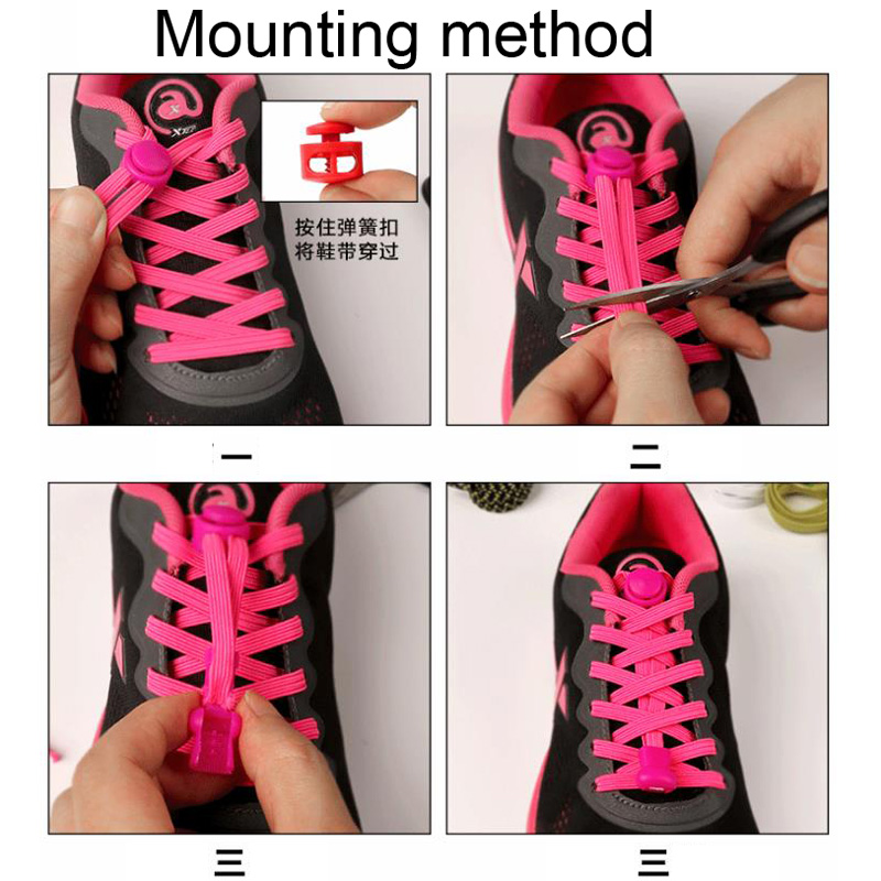 12 Pairs of 100cm Stretch Lock Without Lazy Lasso Shoelaces Sneaker Elastic Rubber Lace Shoe Kids Safe Elastic Tied Laces Buckle in Shoelaces from Shoes