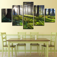 Modern Printing Decor Bedroom Wall Canvas Painting Art 5 Pieces Sunshine Green Forest Natural Landscape Pictures Posters Modular