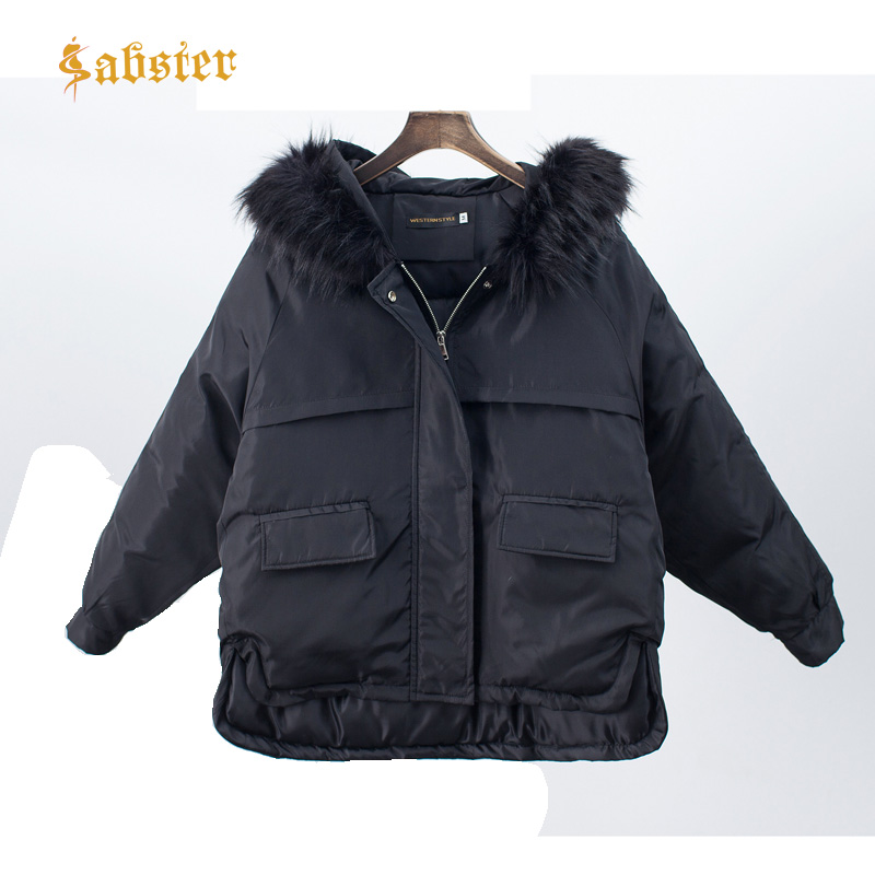 2018 New Winter Jacket Coat Warm Women   Parka   Artificial Fur Collar Coat Padded Short Bread Style Fashion Hooded Outwear XZ437