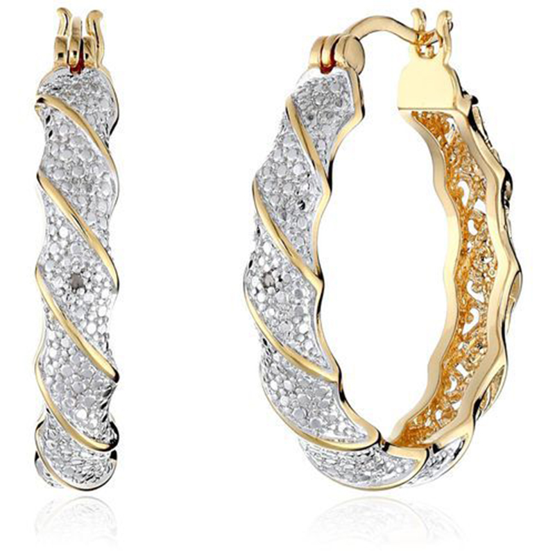 1Pair Latest Fashion Women Copper plated Hollow Color Separation Ear Buckle Party Business Office Ladies Creative Earrings D20 in Drop Earrings from Jewelry Accessories