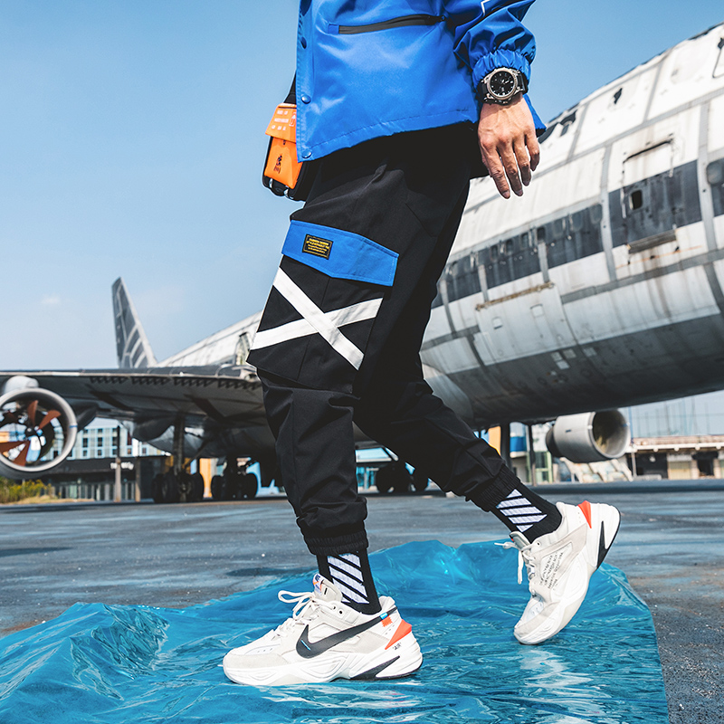 Pockets Cargo Pants Men Color Patchwork Casual Jogger Fashion Tactical Trousers Tide Harajuku Streetwear Y1371