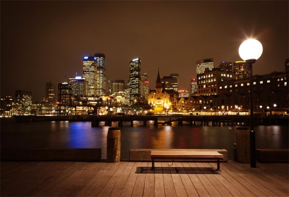Laeacco городских зданий сумерках деревянный пол Bench просмотреть фотографии Фоны индивидуальные фотографические фонов для Аксессуары для фот...