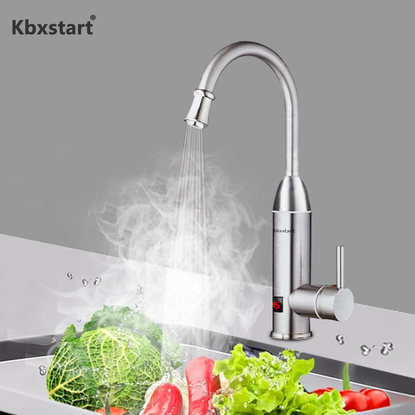 220V Stainless Steel Instant Hot Water Faucet 3000W Tankless Electric Kitchen Water Heater Tap With Led Digital Display EU Plug220V Stainless Steel Instant Hot Water Faucet 3000W Tankless Electric Kitchen Water Heater Tap With Led Digital Display EU Plug