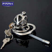 цена FRRK Prison Bird Male Stainless Steel Cock Cage Penis Ring Chastity Device catheter with Stealth New Lock Adult Sex game Sex Toy