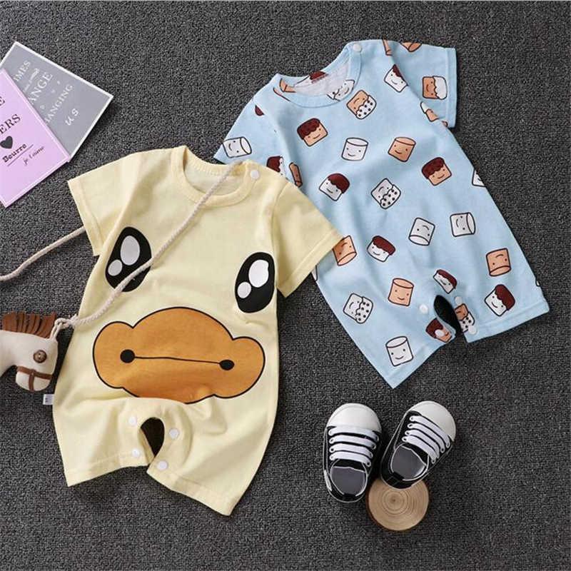Pasgeboren Baby Jongens Meisjes Romper Katoen Korte Mouw Gestreepte Eend Cartoon Baby Jumpsuit Peuter Infant Zomer Kleding