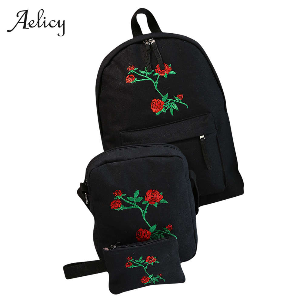 3 PCS/SET Canvas Backpack Cute  Rose Embroidery Teenagers Travel Bags