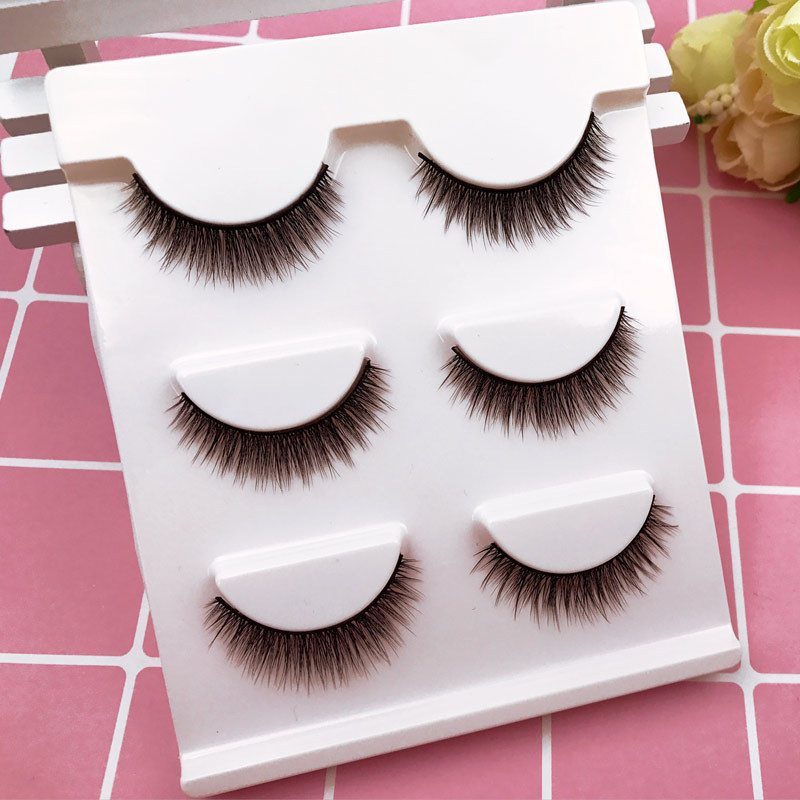 3D mink eyelashes 3 pairs false eyelash for makeup thick mink lashes extension eyelash natural and volume soft false eyelashes