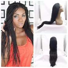 Lace Box Braids Wig Synthetic Black Hair Heat Resistant Micro Braids with Baby Hair Synthetic Wig For African American