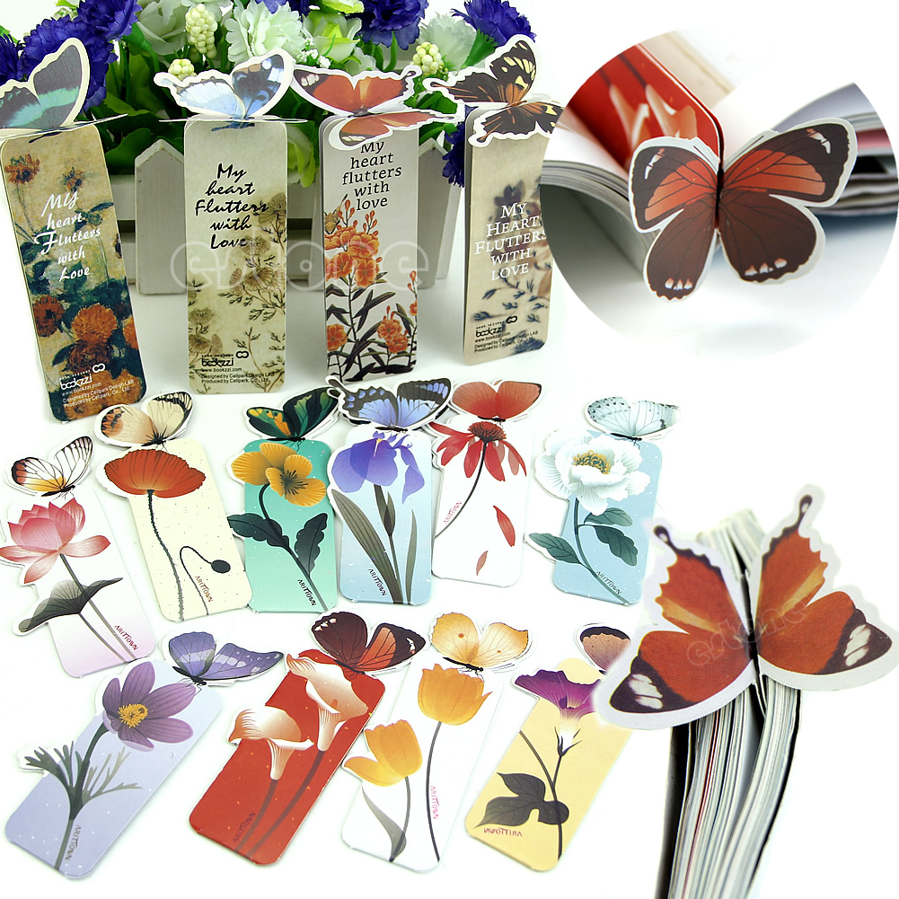 Cartoon Butterfly Book Marks Paper Clip School Office Bookmarks Gift Present New