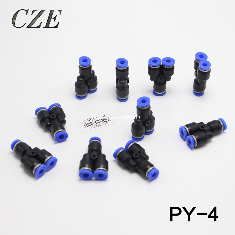 10pcs/lot 1 Touch Plastic Hose 3 Way Y Type Pneumatic Air Fitting 4mm Quick Tube connector Pipe Three Joint PY-4 free shipping 3pcs lot copper pipe fitting 3 way t type quick connector pagoda joint 6mm 8mm 10mm 12mm