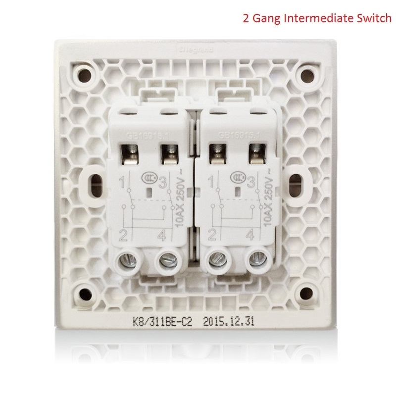 High Quality 2 Gang 4 Way Wall Switch Kit Large Panel Magnolia White