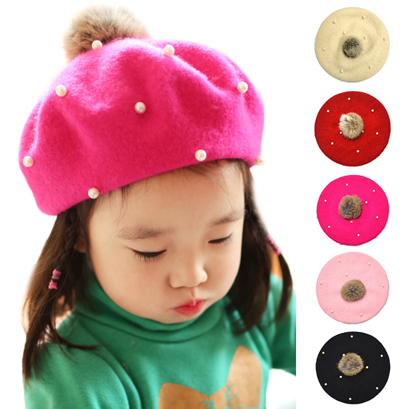 Hats Beret-Hat Pompoms Painter Girls Children Pearl-Cap Wool Kids Solid For 3-6-Years