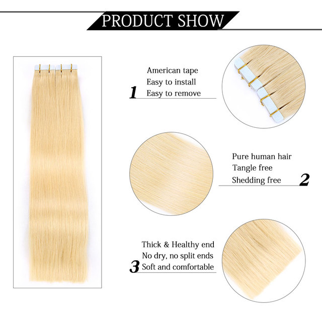 Remy Tape In Human Hair Extensions, 9 Colors Silky Straight European