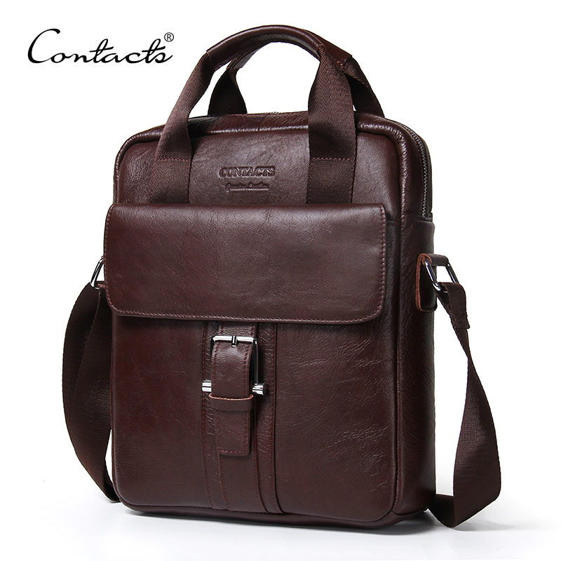CONTACT'S Genuine Leather Bag top-handle Men Bags male Shoulder Crossbody Bags Messenger Flap Casual Handbags men Leather