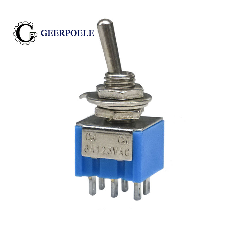High quality copper feet 5 Pcs ON-ON MTS-202  6Pin 2 Position Mini Latching Toggle Switch SPDT AC 6A/125V 3A/250V  MTS202