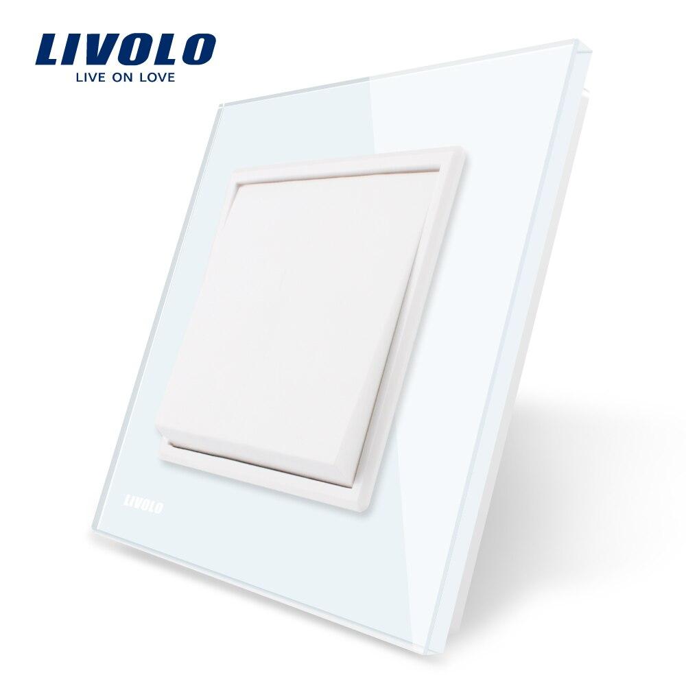 Livolo fabricante estándar de la UE panel de cristal blanco de lujo, 1 gang 1 interruptor de botón de la manera, VL-C7K1-11/12