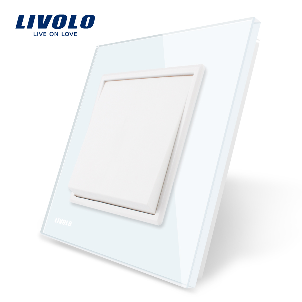 Livolo Hersteller EU standard Luxus weiß kristall glas-panel, 1 gang 1 weg Push button switch, VL-C7K1-11/12