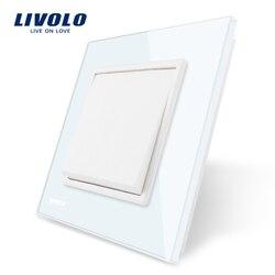 Livolo Manufacturer EU standard Luxury white crystal glass panel, 1 gang 1 way Push button switch, VL-C7K1-11/12