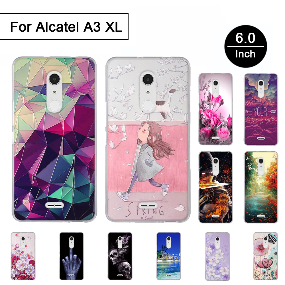 3D Relief TPU <font><b>Case</b></font> For <font><b>Alcatel</b></font> <font><b>A3</b></font> <font><b>XL</b></font> 6.0 inch Stereo Painted Cover For <font><b>Alcatel</b></font> <font><b>A3</b></font> <font><b>XL</b></font> <font><b>Case</b></font> Back Phone bumper Soft Silicon Cartoon image