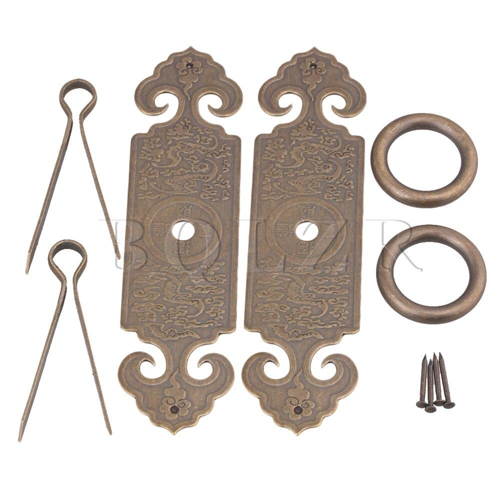 2PCS BQLZR 12 x 3.2cm Bronze Chinese Furniture Hardware Brass Cabinet Strip Pull Handle with U-shaped Needle bqlzr 2 x bronze thicken dragon pattern pull knob hardware w u shaped pin