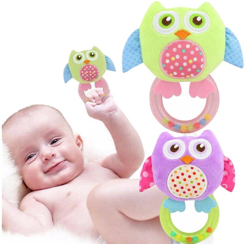 Cotton Infant Baby Kid Soft Giraffe Animal Handbells Rattles Handle Toys Gift BT