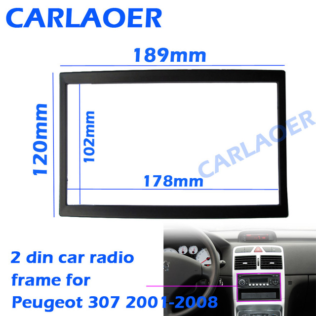 Auto Frame Voor Peugeot 307 2001 2008 Audio Conversie Dashboard Panel Frame Autoradio Grootte 178*102 Mm 190*120 Mm 2 Din Fascias